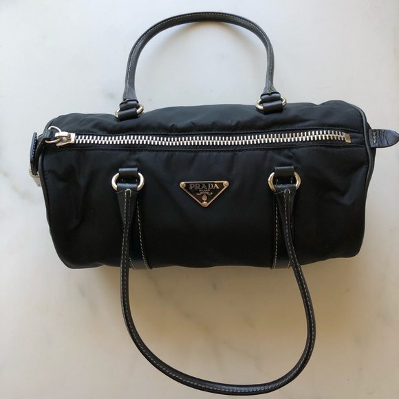 Prada Handbags - Prada Nylon Black Handbag ZIP Double Handles
